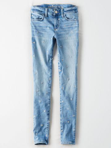 ג'ינס סטרץ' בשטיפה בהירה עם רקמת פרחים Jegging / נשים