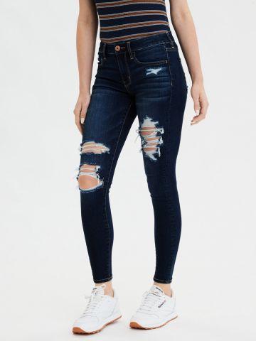 ג'ינס סקיני סטרץ' בשטיפה כהה עם קרעים Jegging