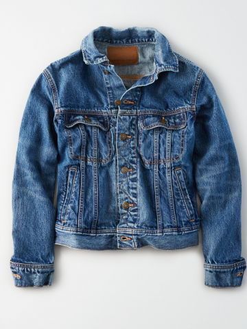 ג'קט ג'ינס בשטיפה כהה עם כיסים / נשים