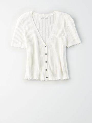 חולצת סריג קרופ עם כפתורים / נשים