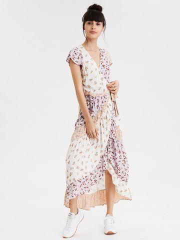 שמלת מקסי בהדפס פרחים קולור בלוק
