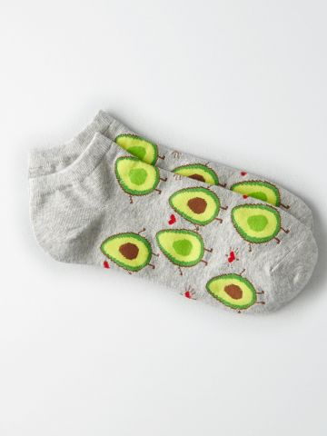 גרביים נמוכים בהדפס אבוקדו / נשים