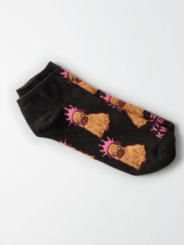 גרביים נמוכים בהדפס כלבים / נשים