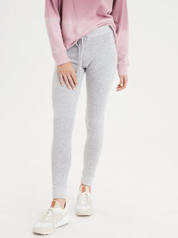 מכנסי טרנינג סקיני עם שרוך קשירה Super high-waisted