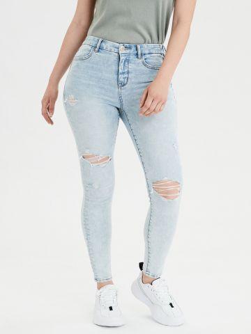 ג'ינס CURVY ארוך עם עיטורי קרעים super high-waisted