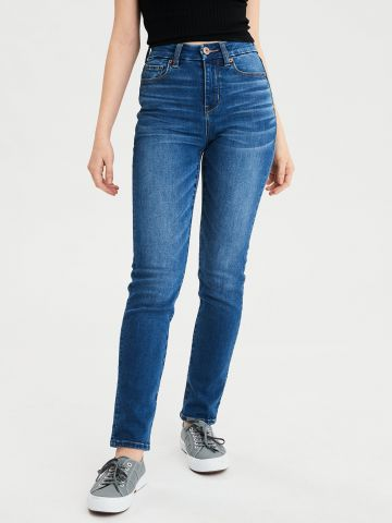 ג'ינס CURVY ארוך בשטיפה כהה High-Waisted Skinny