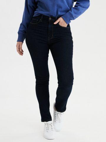 ג'ינס Curvy ארוך בשטיפה כהה High Rise Skinny