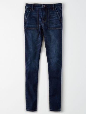 ג'ינס סקיני סטרץ' בשטיפה כהה SHI Jegging / נשים
