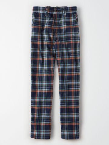 מכנסיים בהדפס משבצות Skinny