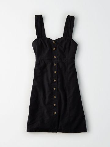 שמלת פשתן מיני עם כפתורים בחזית