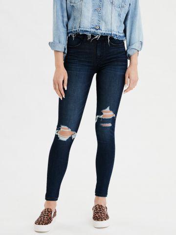 ג'ינס סקיני סטרץ' עם קרעים High Rise Jegging