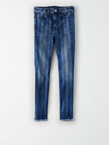 ג'ינס קרופ פסים בגזרה גבוהה high-waisted jegging