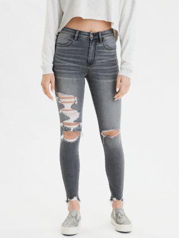 ג'ינס סקיני סטרץ' עם קרעים Super High Rise Jegging