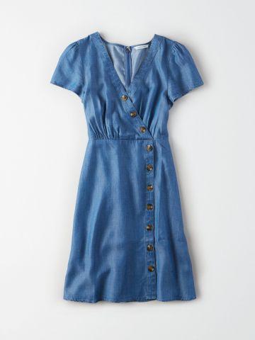 שמלת מיני אסימטרית עם כפתורים