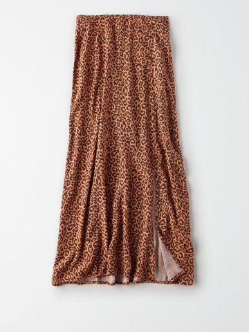 חצאית מידי בהדפס מנומר / נשים