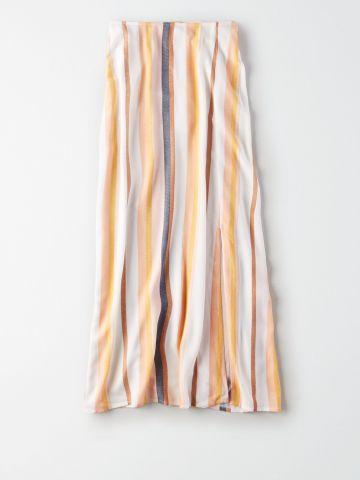 חצאית מידי בהדפס פסים / נשים