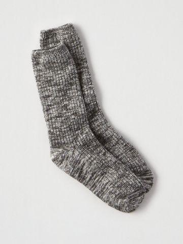 גרביים גבוהים מלנז' ריב / נשים