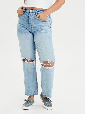 ג'ינס Boyfriend עם עיטורי קרעים High-waisted