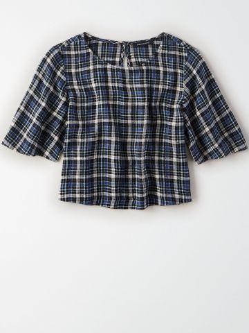 חולצת קרופ בהדפס משבצות / נשים