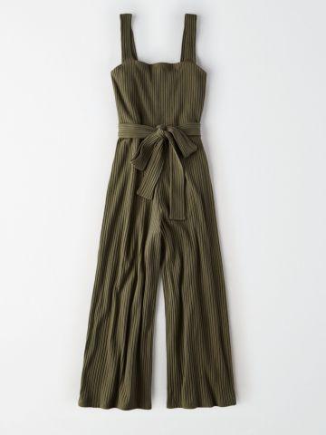 אוברול ריב ארוך עם חגורת קשירה / נשים