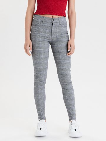 ג'ינס סטרץ' בהדפס משבצות JEGGING