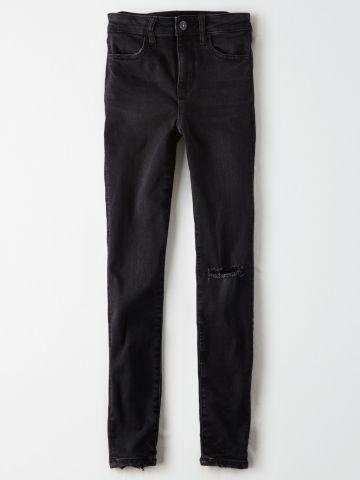 ג'ינס סטרץ' בגזרה גבוהה עם קרעים JEGGING / נשים