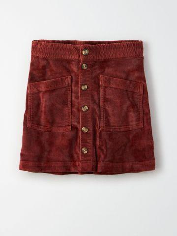 חצאית מיני קורדורוי עם כפתורים / נשים