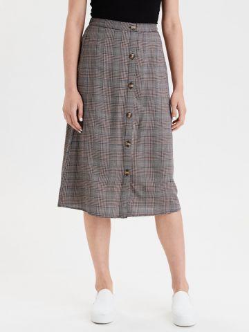 חצאית מידי משבצות עם כפתורים