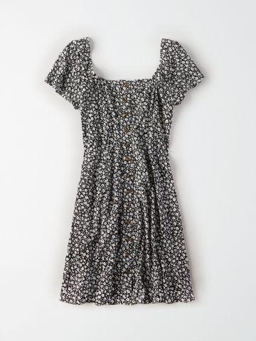 שמלת מיני בהדפס פרחים עם כפתורים / נשים