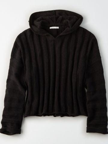 סוודר ריב עם כובע / נשים