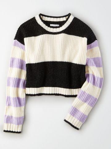 סוודר קרופ קולור בלוק עם פסים / נשים
