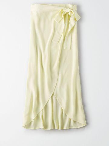 חצאית מידי מעטפת עם חגורת קשירה / נשים