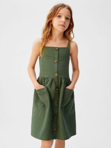 שמלת מיני עם כפתורים וכיסים / בנות