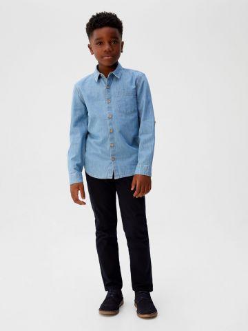 חולצת ג'ינס מכופתרת עם כיס / בנים