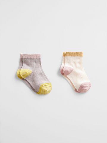מארז 2 זוגות גרביים עם שוליים מודגשים / 1M-3Y