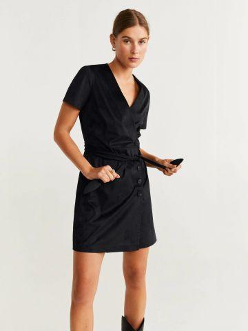 שמלת מיני דמוי זמש עם חגורת קשירה / נשים