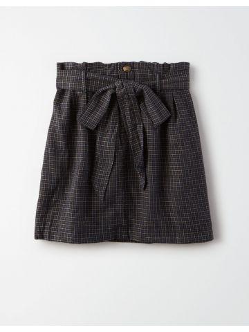חצאית מיני פייפרבאג בהדפס משבצות / נשים