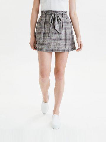חצאית מיני פייפרבאג בהדפס משבצות