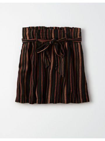 חצאית מיני פייפרבאג בהדפס פסים / נשים