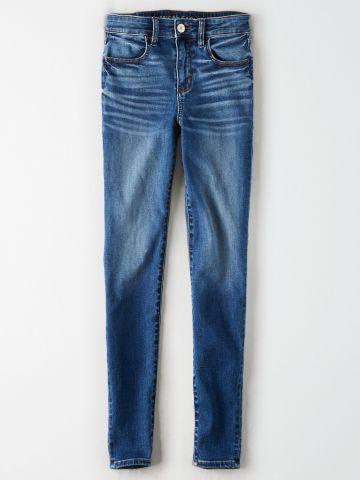 ג'ינס סקיני בשטיפה כהה עם הלבנה Hi Rise Jegging / נשים