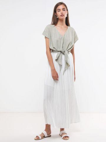 חצאית מקסי בהדפס פסים