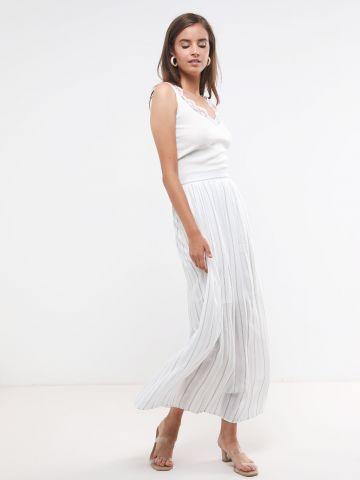 חצאית מקסי בהדפס פסים כחולים