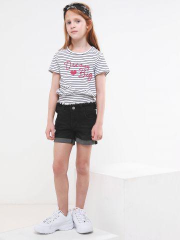 ג'ינס קצר עם קיפולים בסיומת