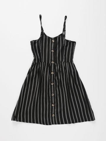 שמלה בהדפס פסים עם כפתורים / בנות