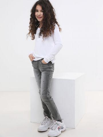ג'ינס סקיני ווש בהדפס כוכבים