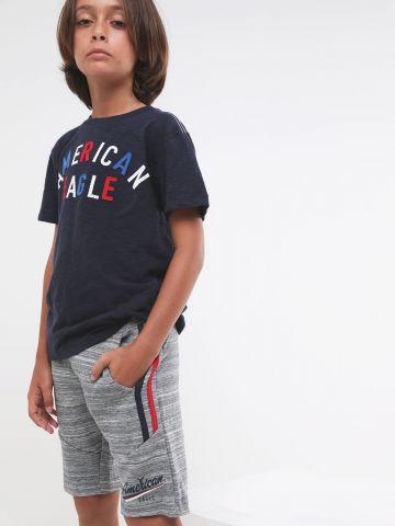 מכנסי טרנינג מלאנז' עם סטריפים