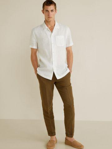 חולצת פשתן מכופתרת עם שרוולים קצרים