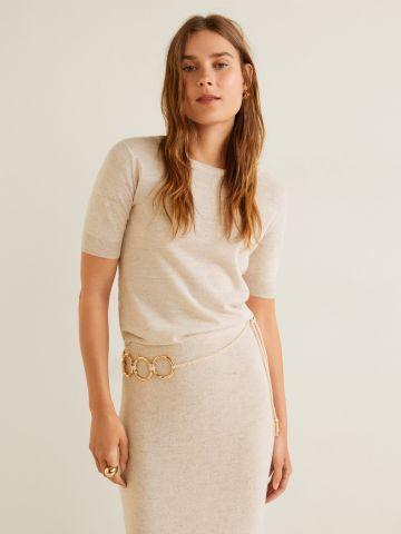 חולצת מלאנז' עם שרוולים קצרים