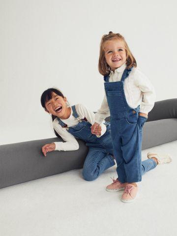אוברול ג'ינס עם כתפיות מלמלה / 9M-4Y