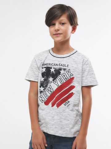 טי שירט מלאנז' עם הדפס לוגו USA